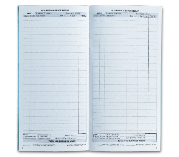 Monthly Vehicle Mileage Log Book Page