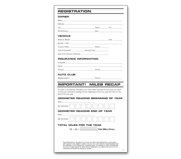 auto mileage log book